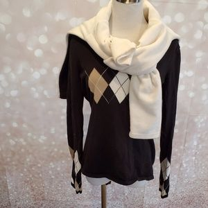 V-Neck Argyle Sweater & Quarter Zip Fleece Set